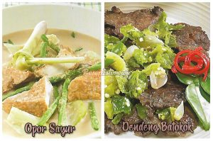 Dendeng Batokok dan Opor Sayur